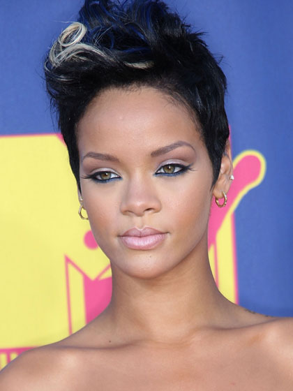 One of our first glimpses of Rihanna as a glam, punk goddess. We love the relaxed, slightly tousled mohawk.