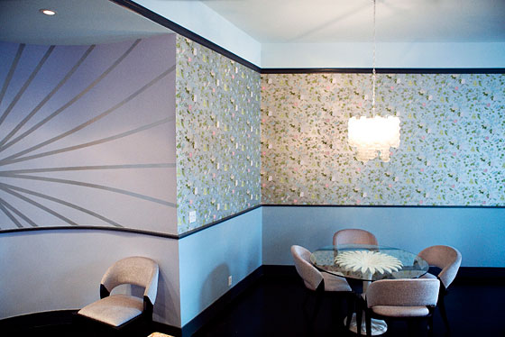 The silvered wallpaper in the dining room is vintage French fifties, also from Second Hand Rose.