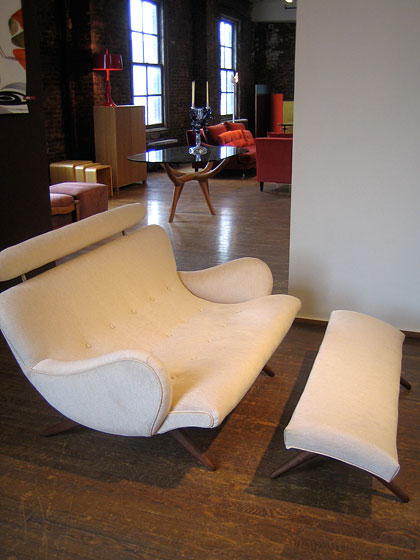 Another view of the swooping curves of the Couples Chaise. Ralph Pucci has a new book called <em>Show</em>, which tells how he took his family's mannequin business and turned it into an amazing showcase of international design talent.