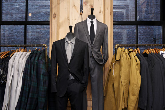 Left: Italian-wool Ludlow three-button suit jacket, $365; Italian-wool Ludlow suit pant $175. Right: Italian-chino Aldridge two-button suit jacket, $248; 