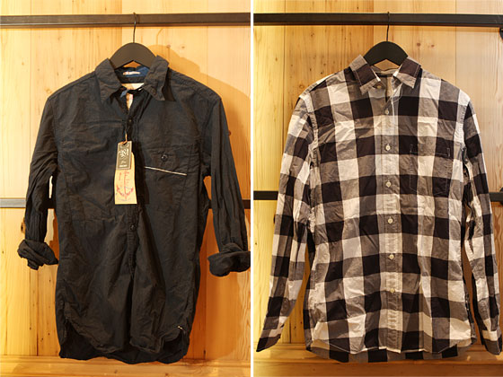 Left: Mr. Freedom Shirt in navy, $235.95. Right: Secret Wash lightweight point-collar shirt in large gingham, $59.50.