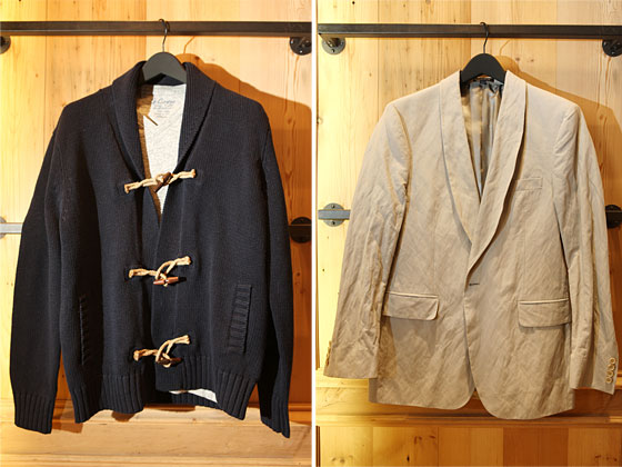 Left: Linen-cotton toggle sweater in navy, $108. Right: St. Tropez Sportcoat in gray, $350.