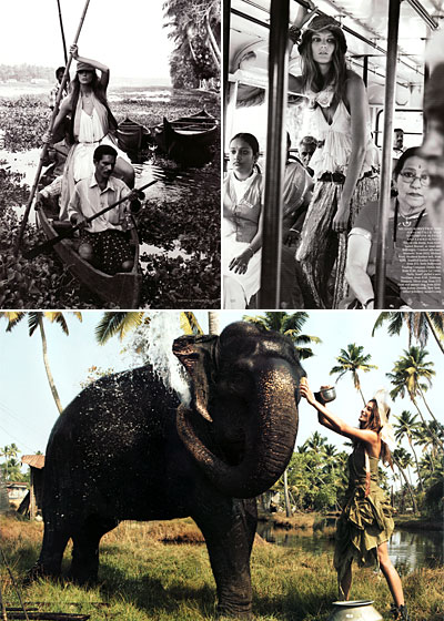 "Patrick Demarchelier shot Daria Werbowy in Kerala, India. She mingles with the locals wearing $1,300 silk-lame pants by Michael Kors (top right) and a $1,400 Max Mara dress (top left). When she finished touring in the punt she washed an elephant in a $15,500 frock by Ralph Lauren. The average per capita income in this region is <a href=""http://www.ashanet.org/library/articles/kerala.199803.html"">estimated</a> to be between $298 and $350 a year--not even a Kors pant leg!"
