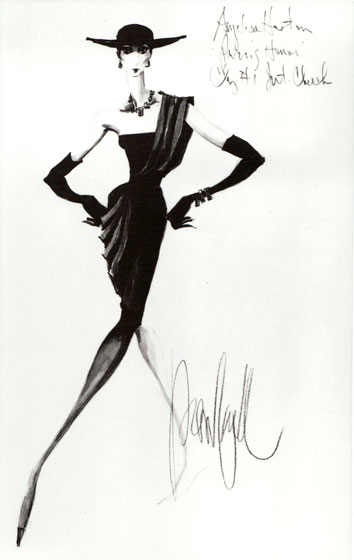Costume sketch by Donfeld for Anjelica Huston in <em>Pritzi's Honor</em>, 1985.