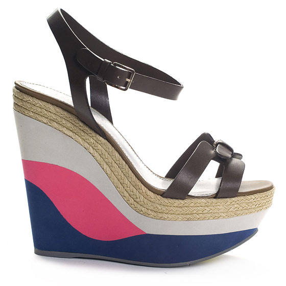 Tricolor Wedge Platforms With Leather Straps, $690.