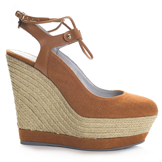Braided Linen Wedges With Leather Ankle Strap, $565.