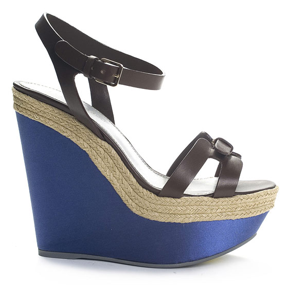 Blue Wedge Platform Sandals With Leather Straps, $580.