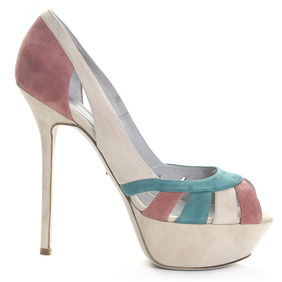 Tricolor Suede Platform Pump With Peep Toe and Cutout, $795.