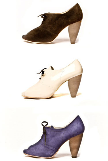 Charm in Ultra Suede. Available in Chocolate, Winter, and Eggplant; $225.