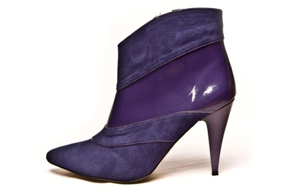 Camaro in Eggplant; Ultra Suede and <i>faux</i>patent, $275.