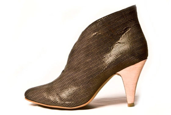 Groove, in Copper; Ultra Suede with coated linen heel, $235.