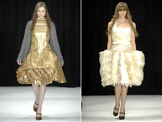 In this fall collection, Rodarte experimented with brocade fabric and shapes. It was considered radical, yet beautiful.