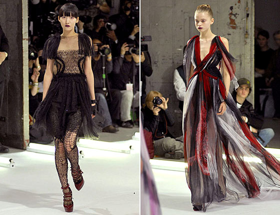 The final look evokes a blood-soaked dress.
