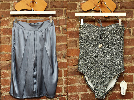Left: Mina Stone vintage silk skirt, $70. Right: Lover floral underwire one-piece swimsuit,  $160.