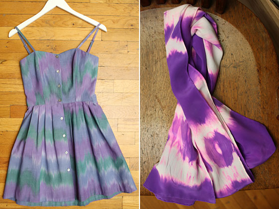 Left: Samantha Pleet pastel printed romper, $250. Right: Sunshine and Shadow silk tie dyed scarf, $75.