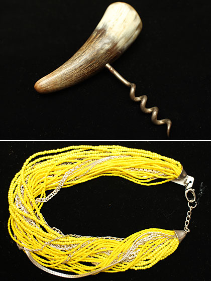 Top: Vintage horn cork screw, $40. Bottom: Anna Sheffield mixed seed-bead and sterling-silver choker, $190.