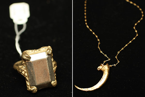 Left: Digby & Iona emerald-cut sterling-silver cocktail ring, $138. Right: Pamela Love Gold Eagle's Claw necklace, $350.