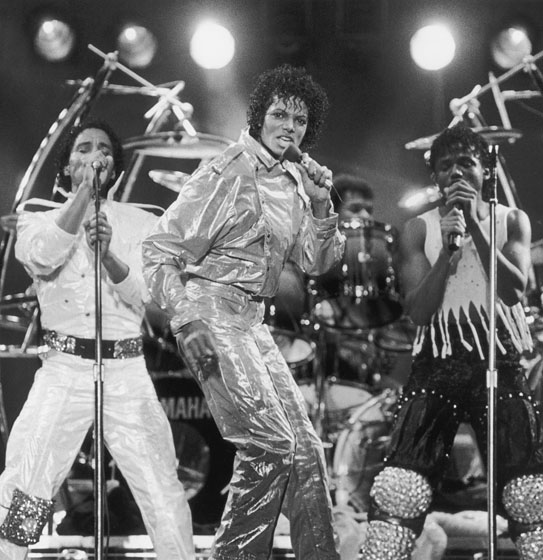 In a shiny ensemble with the Jackson 5.