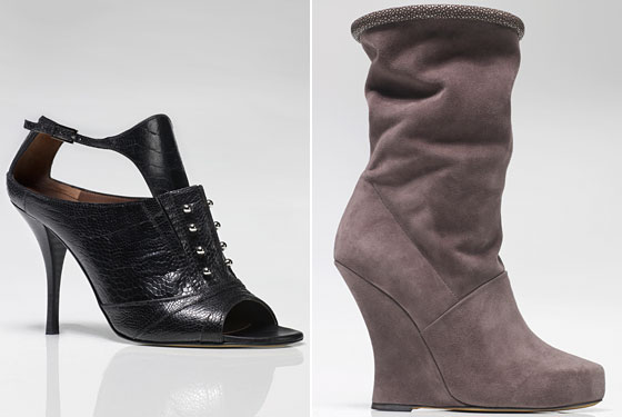 Left: Lily Black Pierced Calfskin Sandal, $1,195. Right: Coco Smoke-Gray Suede and Chagrin Slouchy Ankle Boot, $1,395.