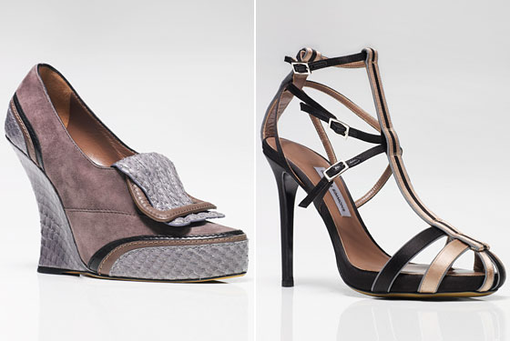 Left: Jospehine Three-Color Suede, Snake, and Calf Wedge, $1,495. Right: Delilah Reflective Silk-Satin Sandal, $1,315.