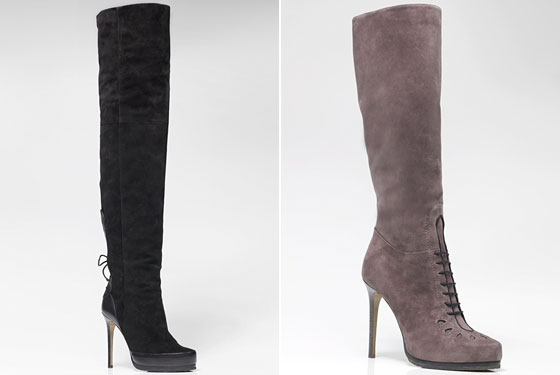 Left: Carla Black Thigh-Length Pebble-Grain Calf and Suede Boot, $2,095. Right: Meg Smoke-Gray Suede with Calf Trim Victorian Ankle Boot, $2,095.