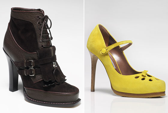 Left: Sally Chocolate Brown Pebble-Grain Calf and Suede Lace-Up Fringe Boot, $1,895. Right: Nili Yellow Suede Mary Jane, $1,100.