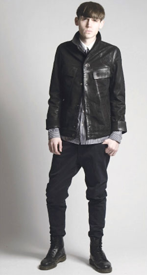 Ozo waxed, coated denim jacket, $296, and loose dropped pant, $188.