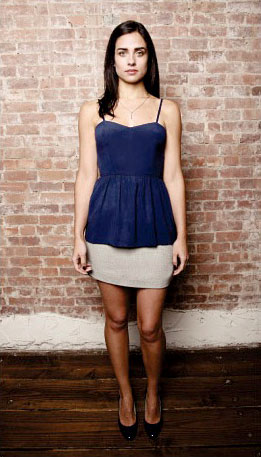Amelia insignia blue silk top, $180, with Claudine wool-and-cotton silk-lined skirt, $160.