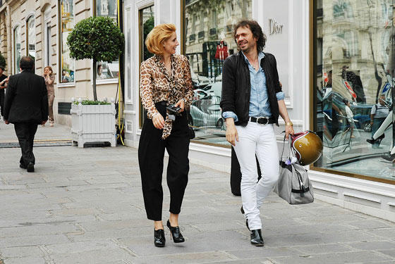 Clotilde Courau, Princess of Venice and Piedmont, with <em>Purple's</em> Olivier Zahm.