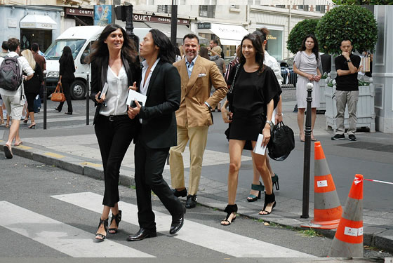 <em>French Vogue's</em> Emmanuelle Alt, <em>V's</em> Stephen Gan, stylist George Cortina, and Geraldine Saglio.