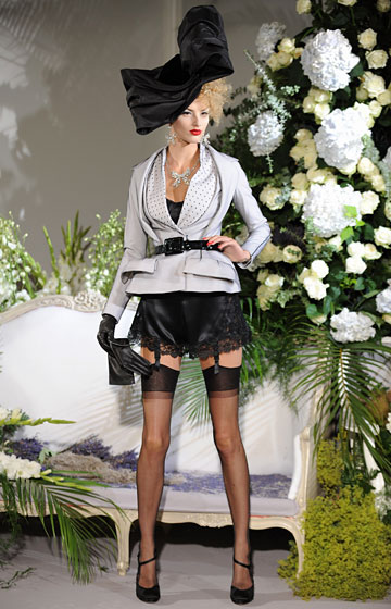"This grey belted <a href=""http://nymag.com/fashion/fashionshows/2009/fall/main/europe/couturerunway/christiandiorcouture/"">Dior</a> blazer is chic, ladylike, and generally delightful. And we adore the matching hat. Would we rather wear it with, say, actual bottoms rather than just saucy lingerie? Probably. (Okay, definitely.) But if called upon, we admit that we would trade every single pair of pants we own for the chance to slip it on just once."