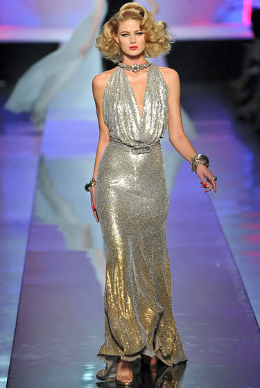 "This gorgeous gunmetal-and-gold <a href=""http://nymag.com/fashion/fashionshows/2009/fall/main/europe/couturerunway/jeanpaulgaultier/"">Gaultier</a> is the kind of modern take on old-Hollywood glamour that Cate Blanchett would make look easy, relaxed, and comfortable, while the rest of us would be sucking in our guts and wondering if we can get free lipo if we donate the fat cells to science (or to Taylor Momsen). Still, for the chance to look like Cate Blanchett in anything, especially in this stunner, we'd accept the universe giving us at least two months of cankles and cellulite down to our knees."