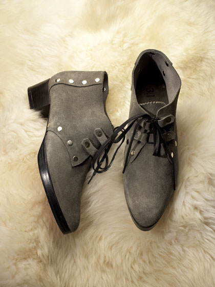 Suede Jazz Shoe in fog, $425. Also available in forest and bark.
