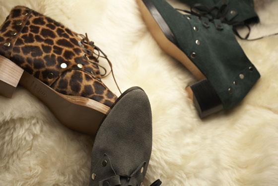 Suede Jazz Shoe in fog and forest, $425; giraffe-print pony-hair Jazz Shoe, $550.
