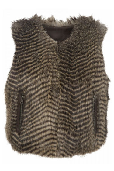 Brown-Stripe Fur Gilet, $100.