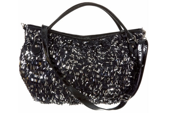 Black-and-Silver Sequin Shoulder Bag, $40.
