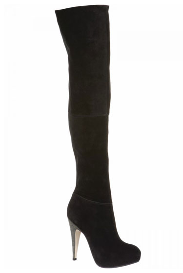 Black Suede Over-the-Knee Boot, $250.