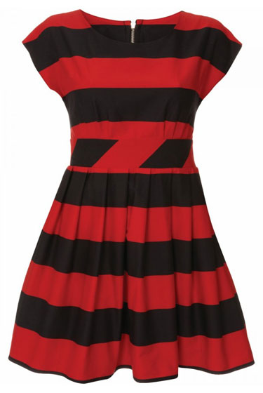 Black-and-Red Stripe Dress, $90.