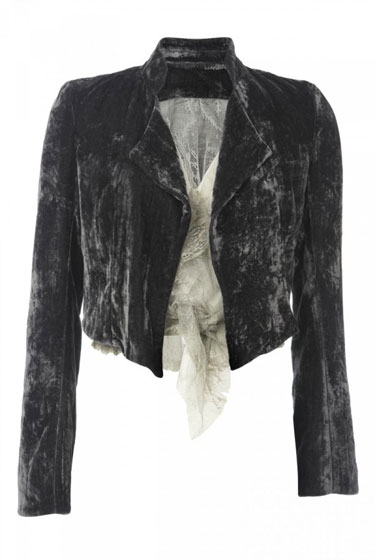 Gray Velvet Cropped Jacket With Lace Lining, $180.