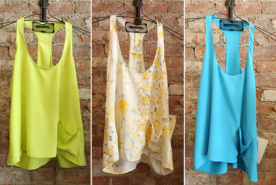 Lime-green silk pocket tank, $85; yellow floral patched pocket tank, $95; turquoise silk pocket tank, $85.