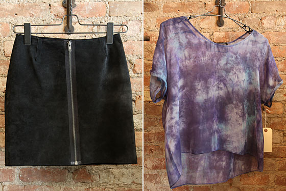 Suede zip-up miniskirt, $145; purple-and-blue tie-dyed sheer silk top, $115.