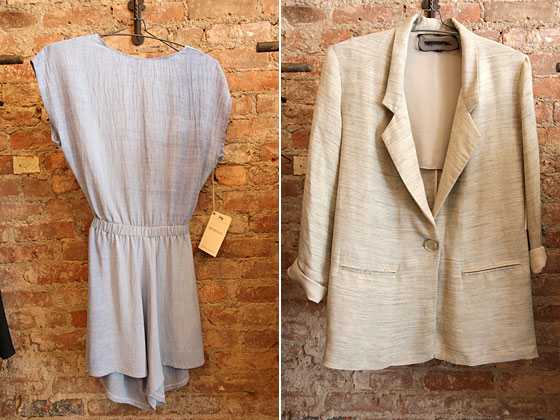 Blue open-back dress, $175; oversize beige one-button blazer, $215.