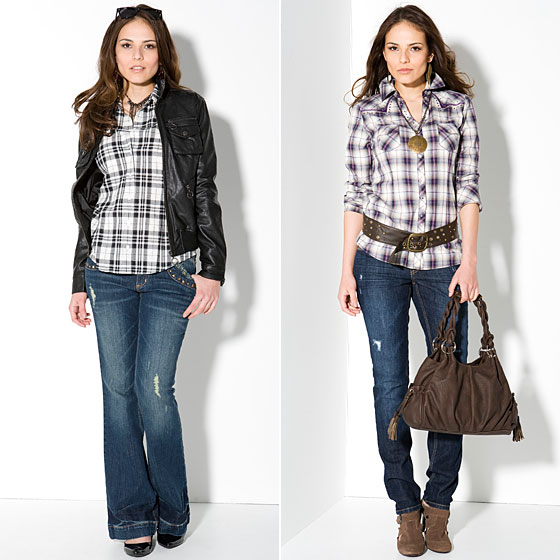 Allen B. by Allen B. Schwartz Cropped Leather Jacket, $99; Plaid Woven Blouse, $44; Distressed Denim With Stud-Pocket Details, $58