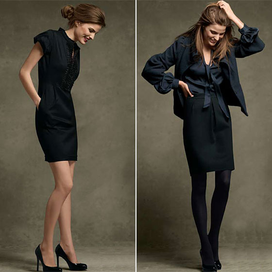 Left: Ruffle-Front Shirt Dress, $160. Perfect Platform, $175. Right: Pintuck Blouse with Necktie, $110. Twill Funnel-Neck Jacket, $195. Wool-Satin Pencil Skirt, $100.