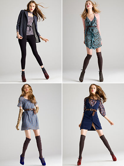 Clockwise from top left: Boyfriend Jacket $68, Space-dye Keyhole Top $36, Leggings $15. Long-sleeve Burnout T $26; Belted Ruffle Dress $50. Leaf Blouse with Belt $44, Sweater Vest $36. Floral Dress $50.