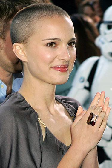 Natalie Portman lost her locks to play Evey in 2005's <em>V for Vendetta</em>, another extremely worthwhile and magical movie. She embraced Evey's post-torture look for red-carpet appearances. And grew it out as soon as she could.