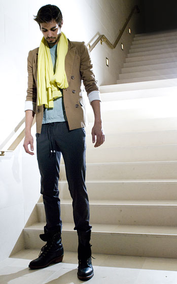 Captain Sport in Tobacco $259.60; Cashmere Scarf in Meyer Neon $89; Jonah Shirt in Mint $83; Drawstring Trouser in Slate $136.