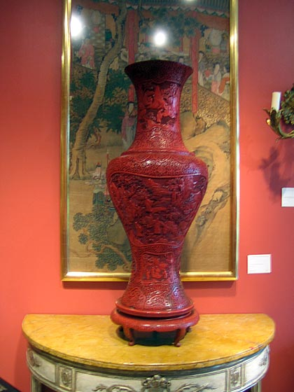 This is a huge cinnabar vase, which has a lot of strength and character. I always picture these things out of the context of the shop. I imagine this in a big, empty loft, where it would just hold the space.