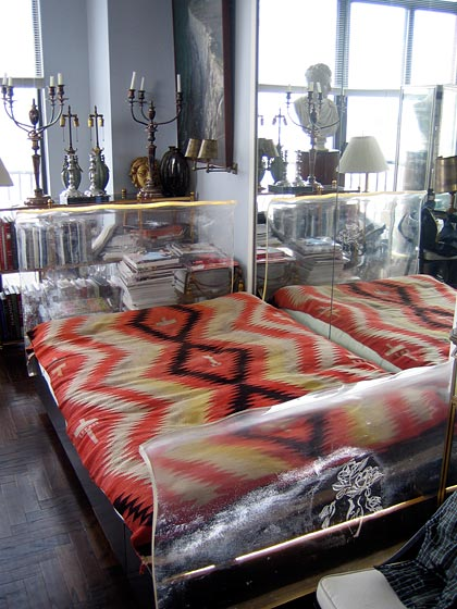 And this is Helena Rubenstein's amazing acrylic bed from the thirties, by Ladislas Medgyes. It has her famous rose insignia entwined with her initials on the end.