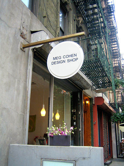 This is Meg Cohen's shop at 59 Thompson Street, near Spring. This is where I always go to find a special gift.
